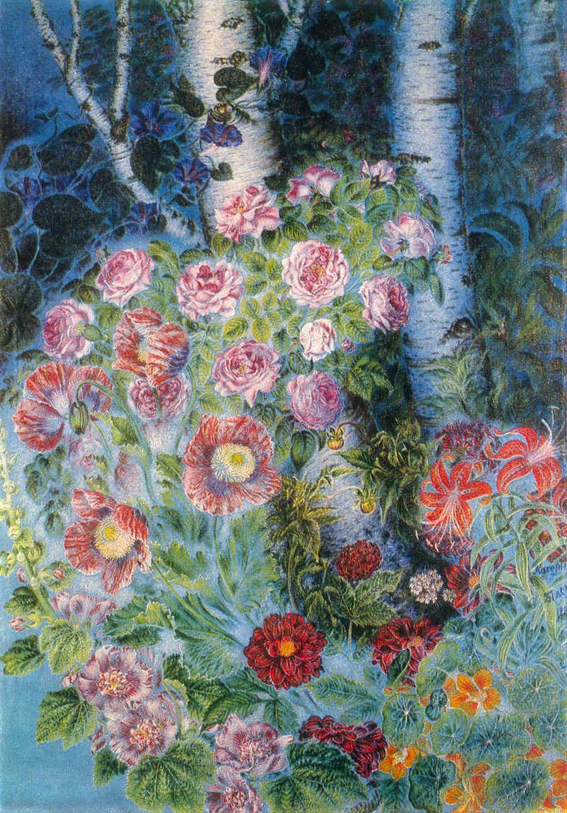 Blumen und Birke