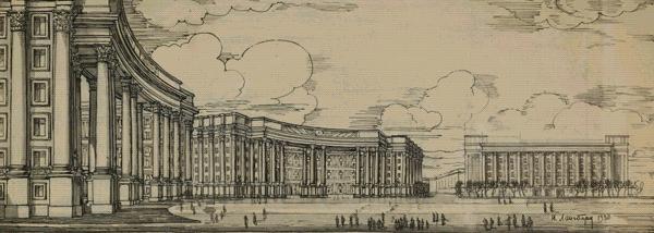 Regierungszentrum in Kiew. Entwurf von J. Langbard, 1935-1938